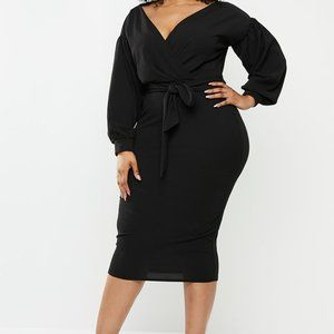 Missguided 14 Plus Long Sleeve Wrap Belted Midi